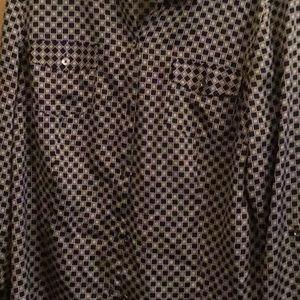Jones New York CheckPrint silk Blouse